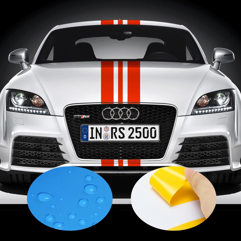 ADATECH Vinyle autocollant pour voiture vinyle Bandes universel Rouge couleur 130 cm