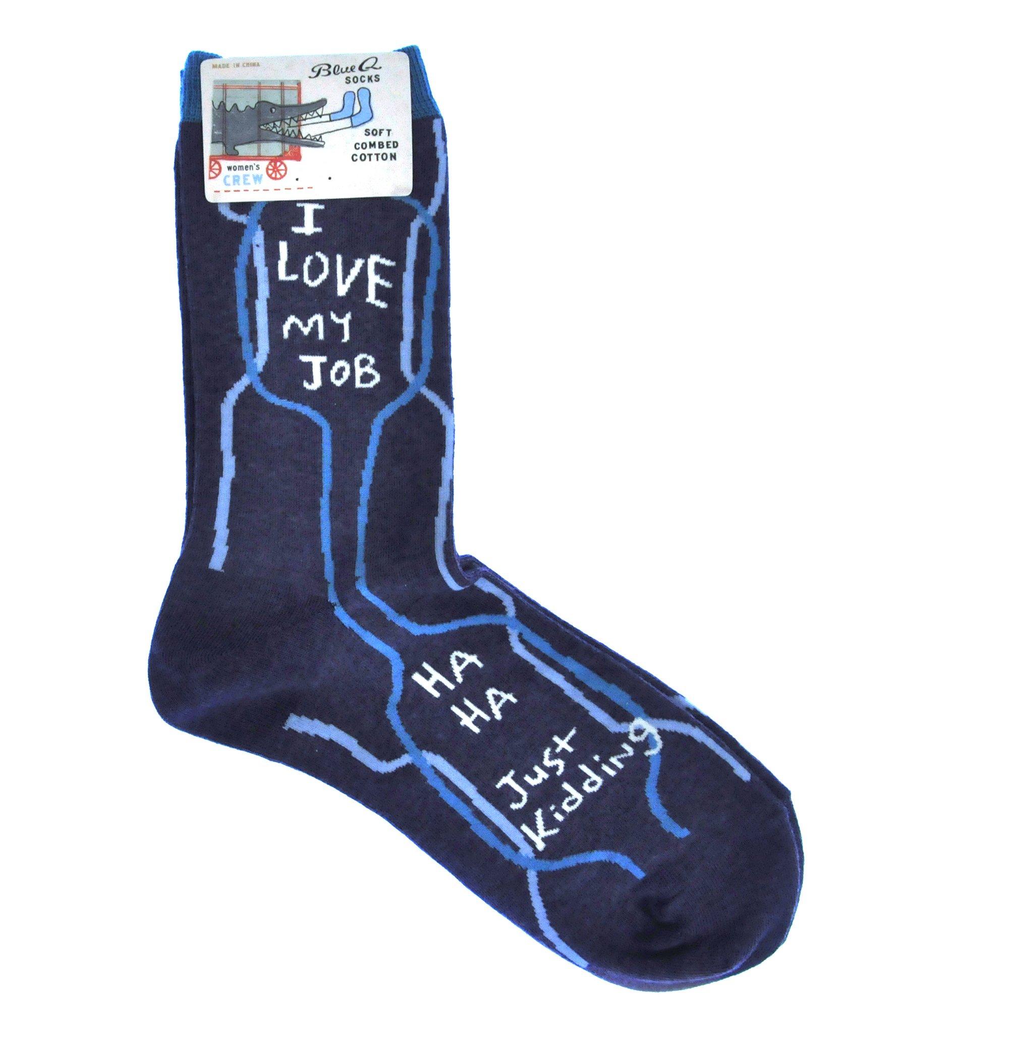 Blue Q I Love My Job Women's Crew Socks size 5-10