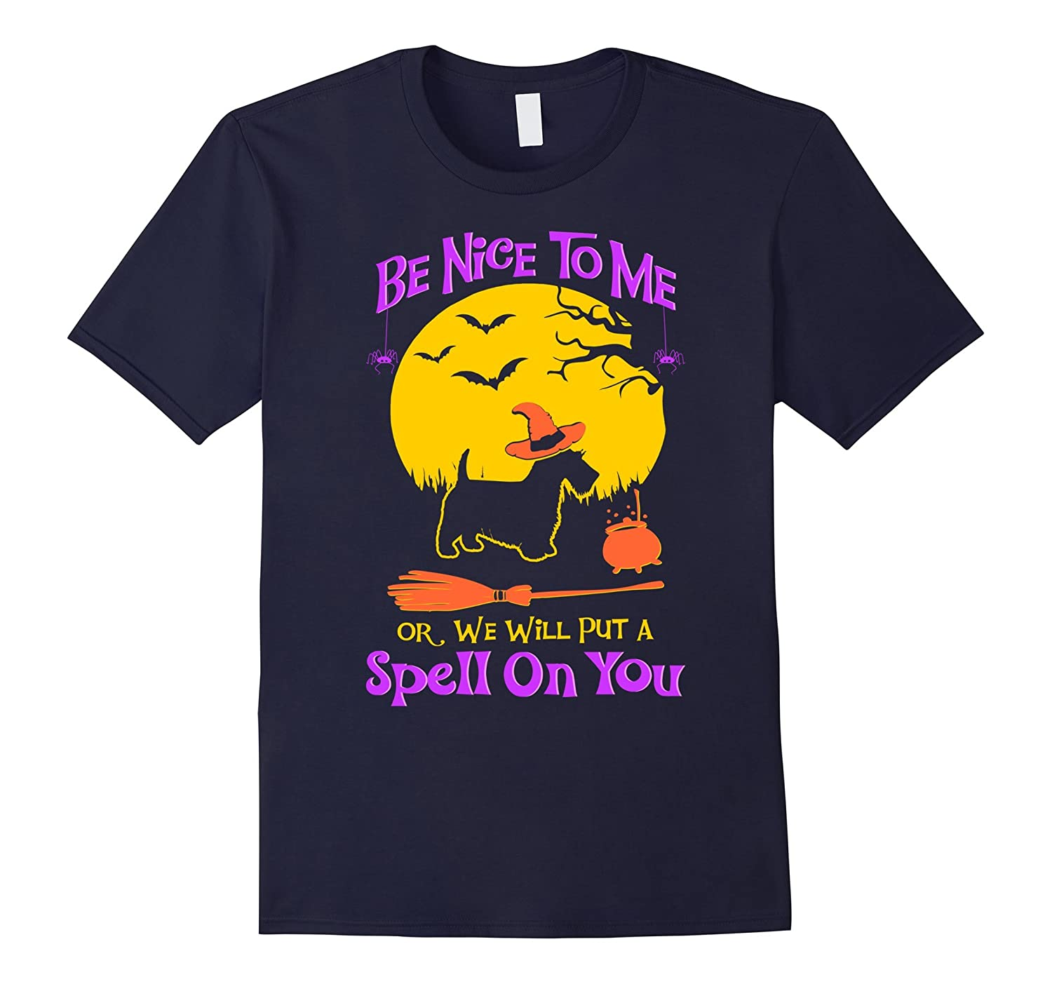 Be Nice To Me Scottish Terrier Dog Halloween Tshirt-FL