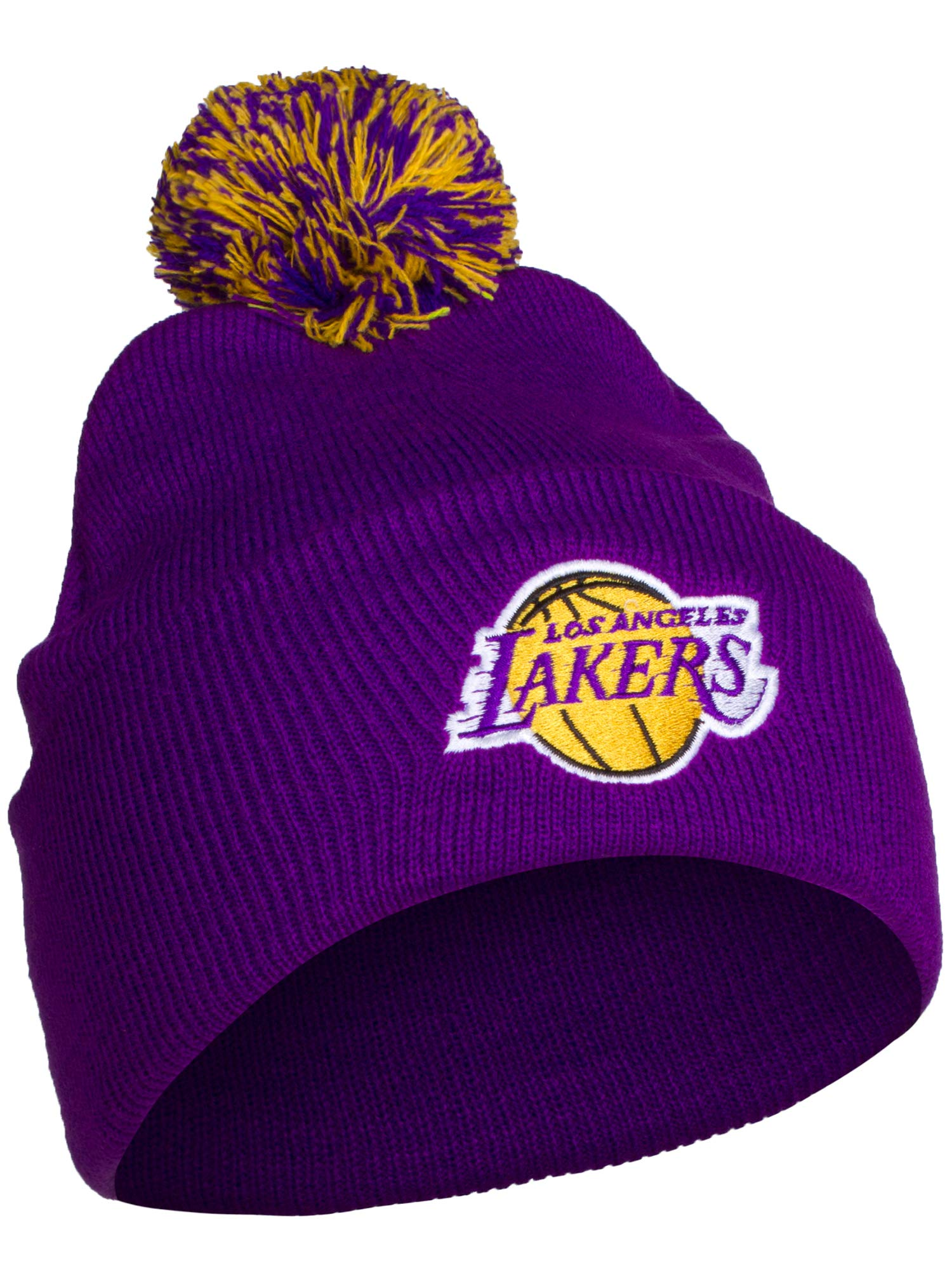 NBA Authentic Licensed Basketball Cuff Pom Pom Beanie Knit Hat Cap - Lakers Purple