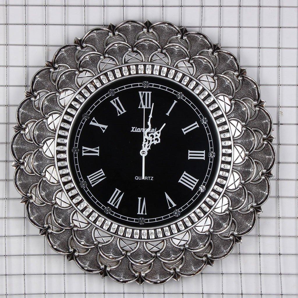 壁時計ヨーロッパのスタイルのリビングルームミュート田舎のバラの懐中時計リビングルームモダンな性格クォーツ時計ラウンド時計と時計 (Color : Gray) B07CSMTJYJGray