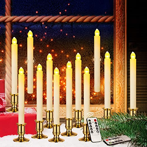 Window Candles, YUNLIGHTS 12 Pack Battery Powered LED Flameless Candles Taper with Remote Timer – Removable Gold Holders and Suction Cups for Window, Christmas, Holiday Decorations