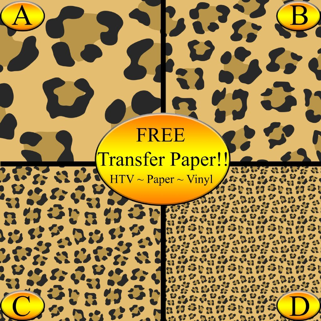 Leopard Printed Heat Transfer Vinyl - Leopard HTV - Leopard Vinyl Sheets (Style B - 4 x 6) American Sign Letters