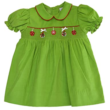 carriage boutique baby girls hand smocked holiday dress christmas wreaths - Smocked Christmas Dress