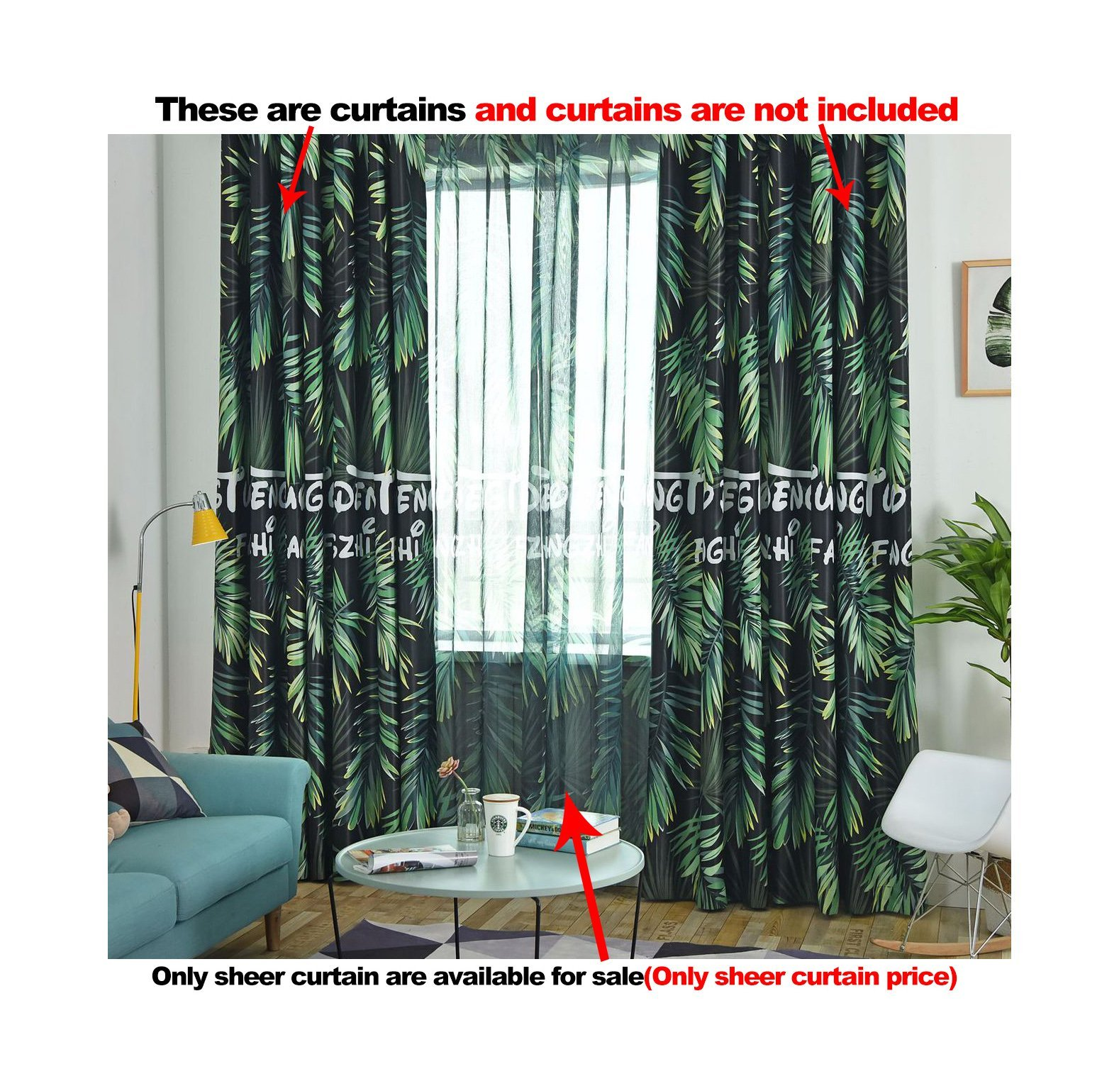 ASide BSide Rod Pocket Top Banana Trees Printed Sheer Curtains Rainforest Style Breathable Window Decoration For Kitchen Sitting Room and Houseroom (1 Panel, W 52 x L 63 inch, Green)