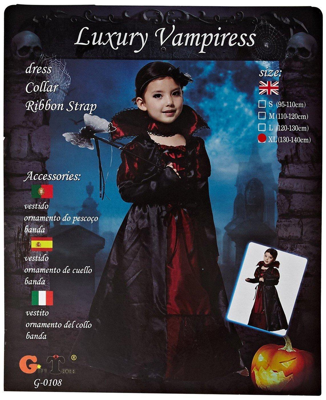 19993f9f5fde Tongchou Costume da Vampira Bambina Vestito Bambina Halloween Carnevale  Taglia M: Amazon.it: Giochi e giocattoli