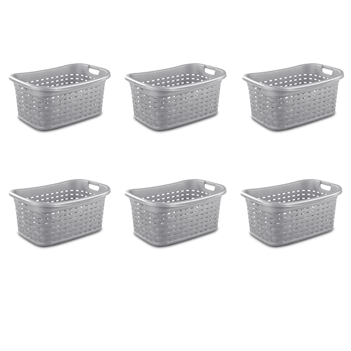 Sterilite 12756A06 Weave Laundry Basket, Cement, 6-Pack