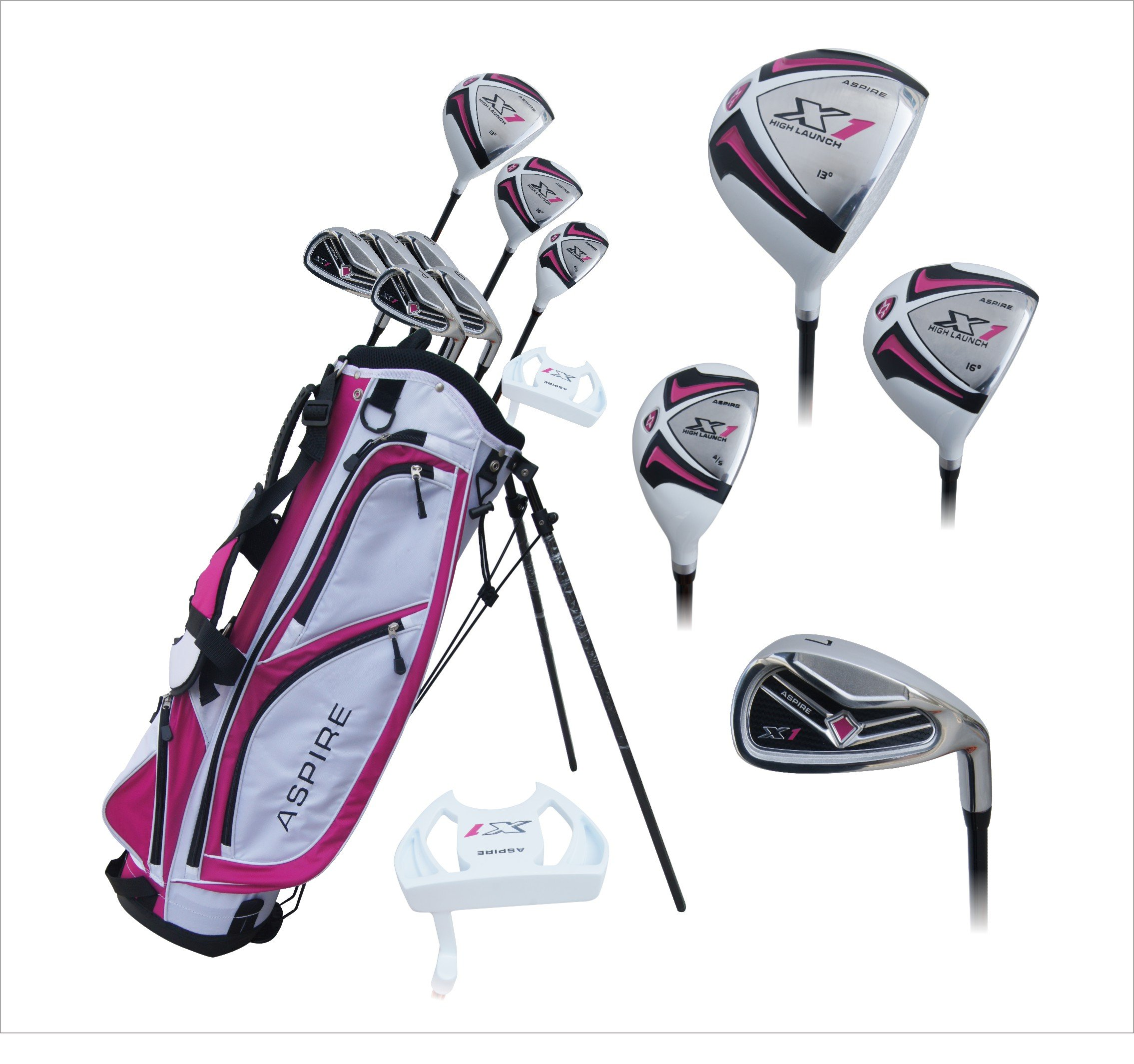 Aspire X1 Ladies Womens Complete Right Handed Golf Clubs Set Includes Driver, Fairway, Hybrid, 6-PW Irons, Putter, Stand Bag, 3 H/C's Cherry Pink Petite Size for Ladies 5'3'' and Below! by Aspire (Image #1)