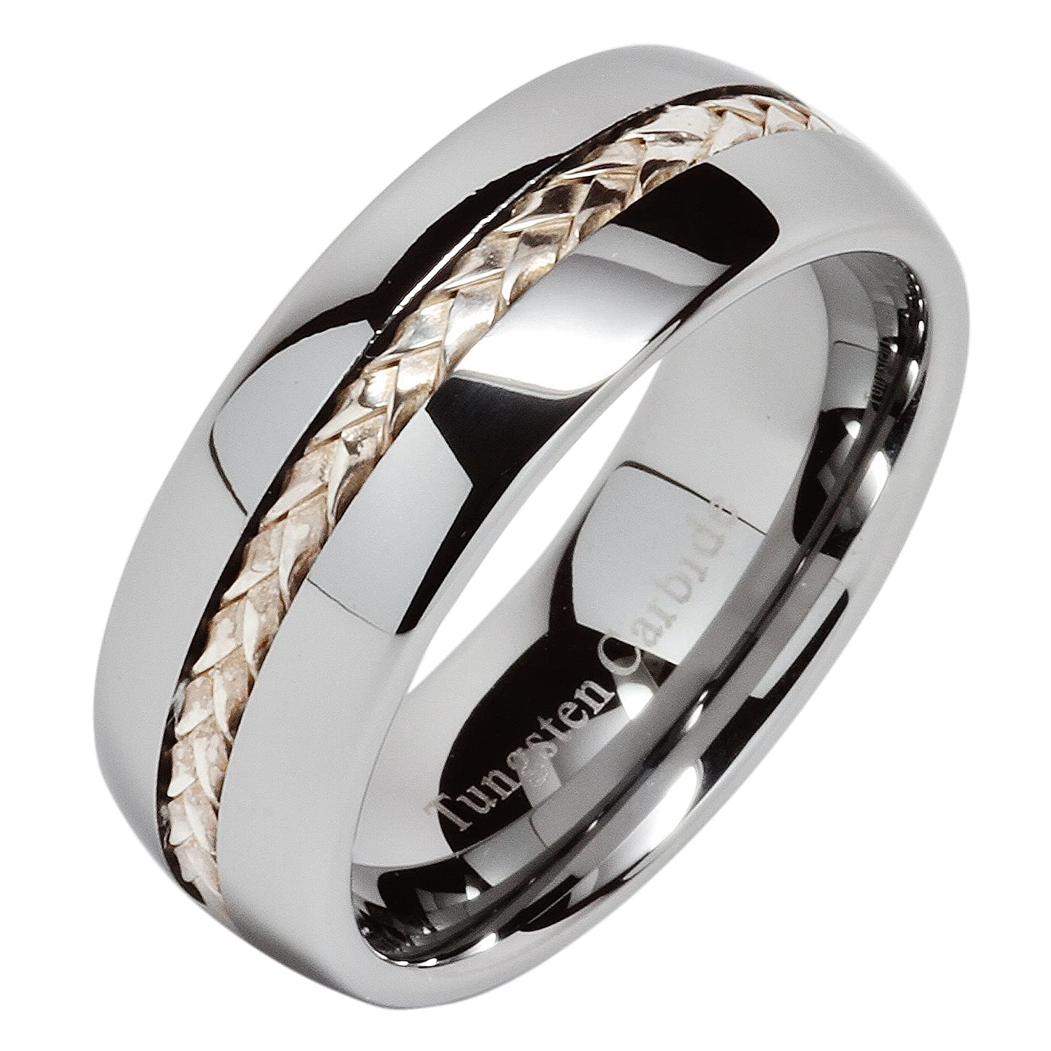 8mm Men s Tungsten Carbide Ring Silver Rope Inlay Wedding Band