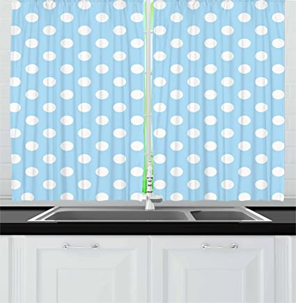 Amazoncom Ambesonne Aqua Kitchen Curtains Ancient Retro