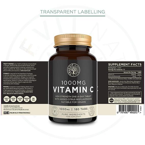 Vitamina C Tabletas de 1000 mg con Bioflavonoides de Fruta Cítrica - Vitamina C Vegana Una al Dia - 90 Pastillas: Amazon.es: Salud y cuidado personal