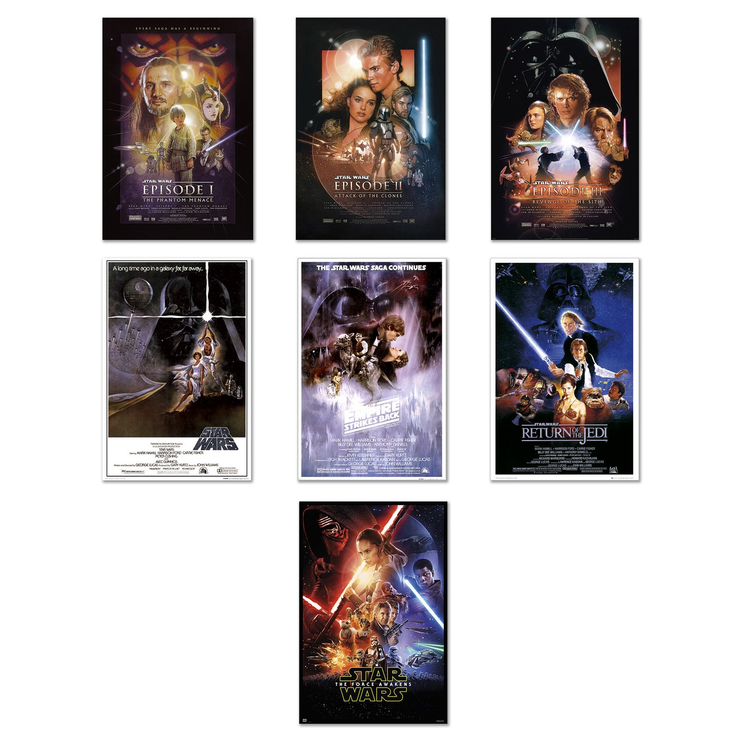 Star Wars: Episode I, II, III, IV, V, VI & VII - Movie Poster Set (7 Individual Full Size Movie Posters) (Size: 24'' x 36'' each) by POSTER STOP ONLINE