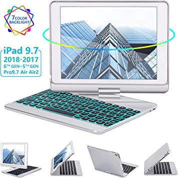 iPad 5th Gen 2017 iPad Pro 9.7 360 Rotate 7 Color Backlit Wireless iPad 9.7 inch Case with Keyboard Air 2// Air 1 iPad Keyboard Case 9.7 for iPad 6th Gen 2018 Auto Sleep Wake