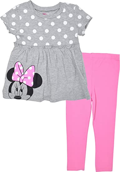 NEW Minnie Mouse Girls Long Sleeve Shirt Polka Dot Pants Outfit Set