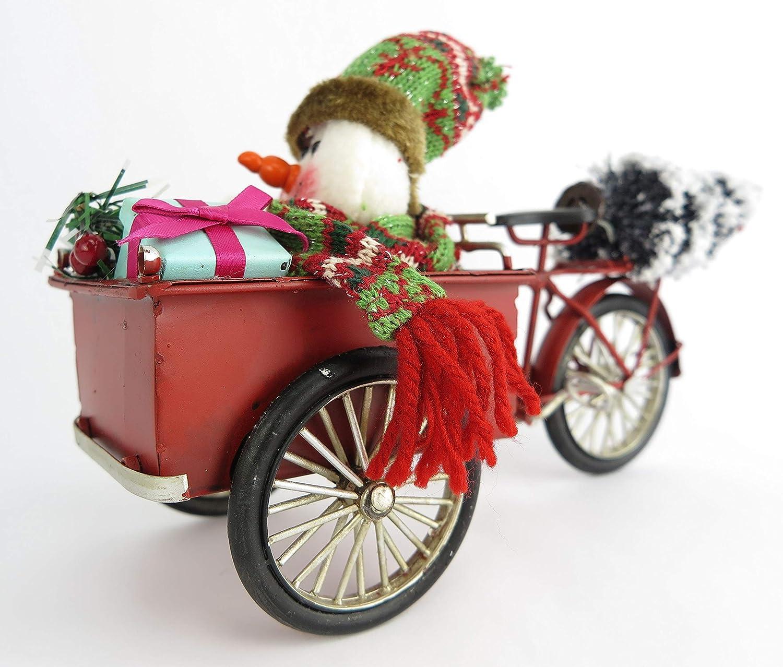 Clever-Deko Nostalgie Blech Fahrrad Lastenfahrrad Lastenrad Modell mit Schneemann Retro rot Weihnachtsdeko Weihnachten gro/ß Merry Christmas