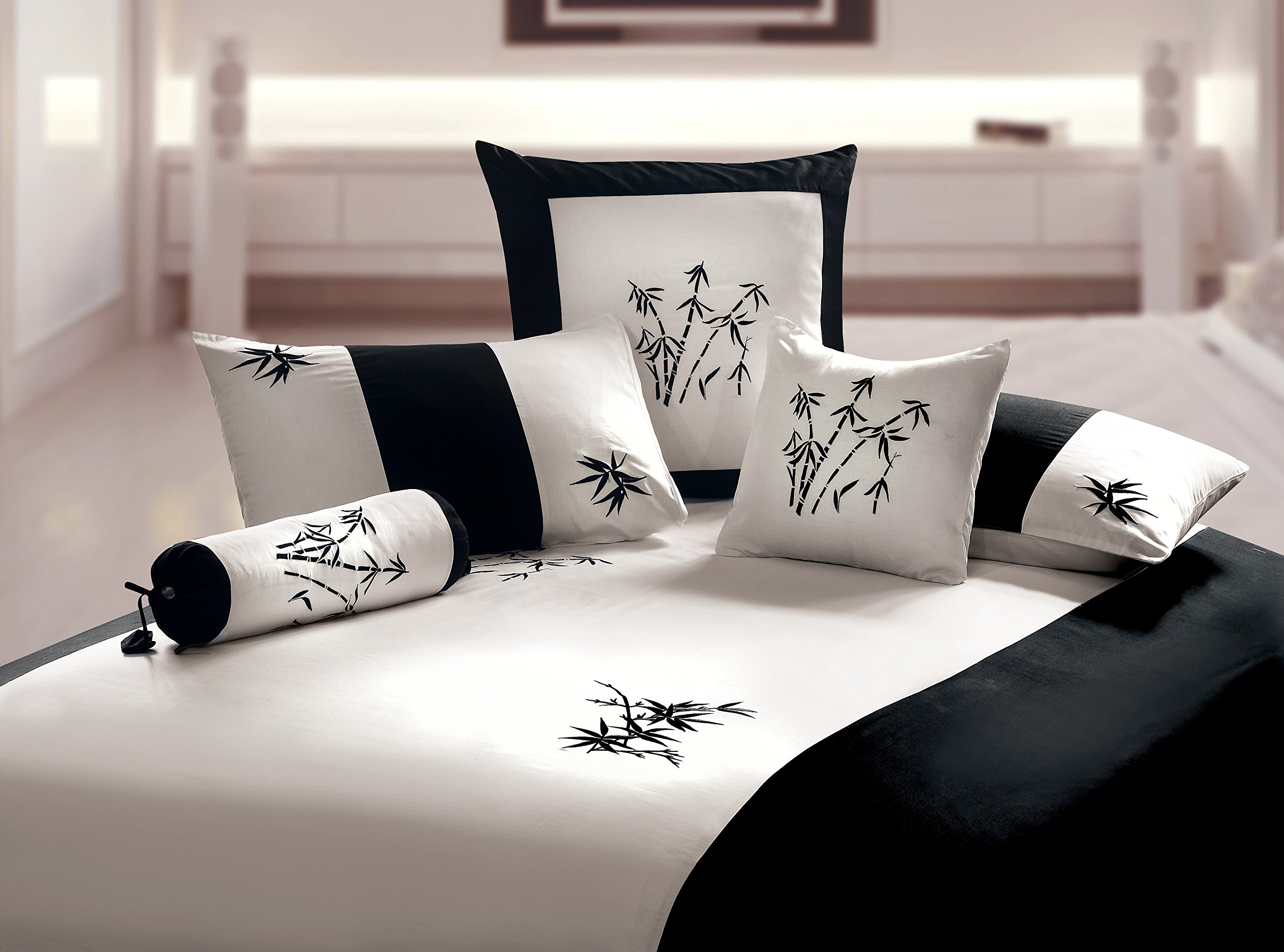 Orient Sense - Black and White King Duvet 3 piece Cover Set ''Zen Garden'' Embroidered Oriental Bamboo Style Design 100% Cotton Sateen by Orient Sense