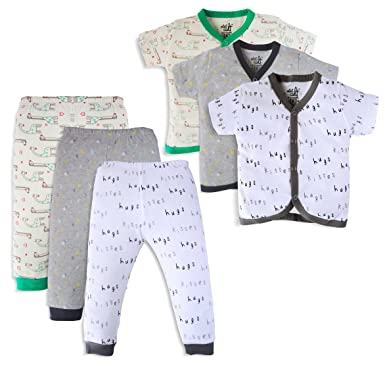d3537e4ac MiniCult Set of Cotton Unisex Front Open T-Shirt with Matching Rib Pants  (Pack