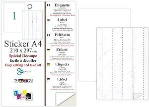 50 lámina adhesiva especial grabado etiqueta 210 x 297 para imprimir y cortar las etiquetas de hoja de etiquetas impresora fácilmente: Amazon.es: Oficina y papelería