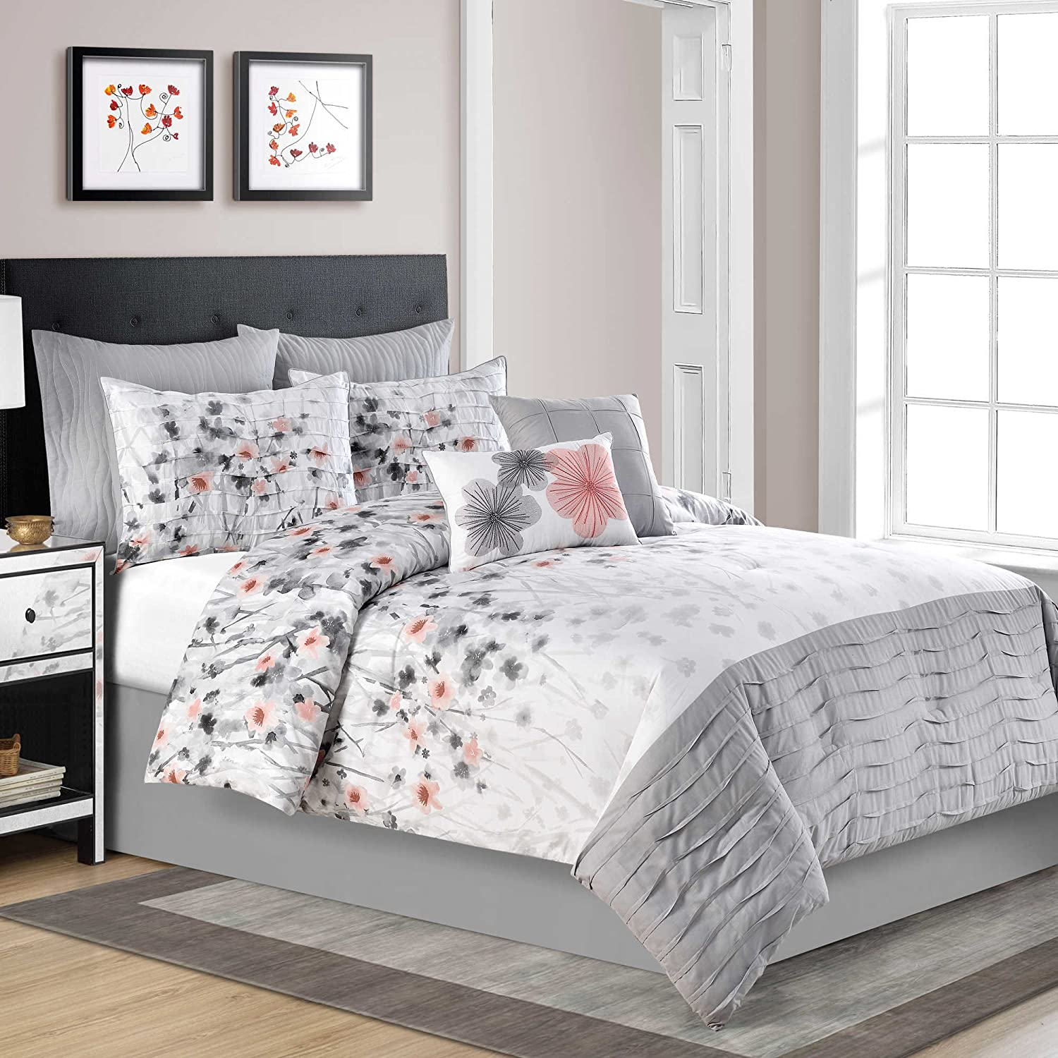 black vermont ideas home set and delightful king amazon yellow whitesilver size com gray extraordinary comforter shocking coral blue chic images dark bedding bed queen sets piece grey