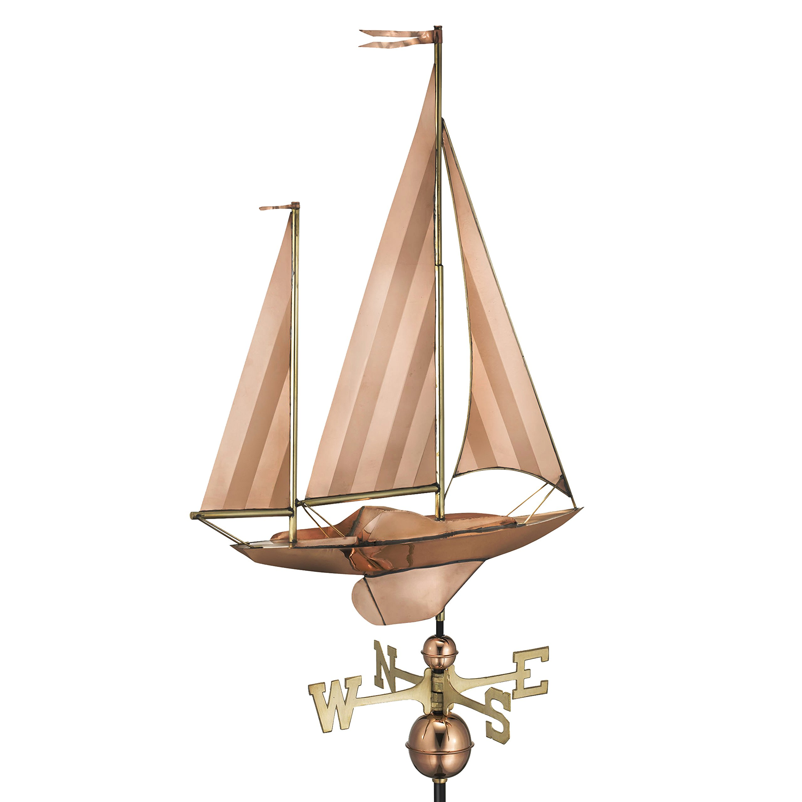 Good Directions Large Sailboat Weathervane, Pure Copper