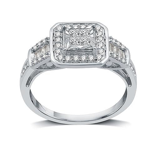 Amazon.com: decarat 1/2 CT.T.W. diamante plata de ley cojín ...