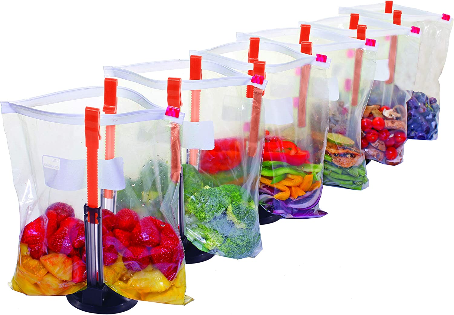 Jokari Suction Cup Fortified Baggy Rack 6 Pack For More Stability When Filling Plastic Freezer Storage Zip Lock Bags. Sturdy Clips Hold Containers Open to Pour Leftovers and Meal Prep Ingredients.