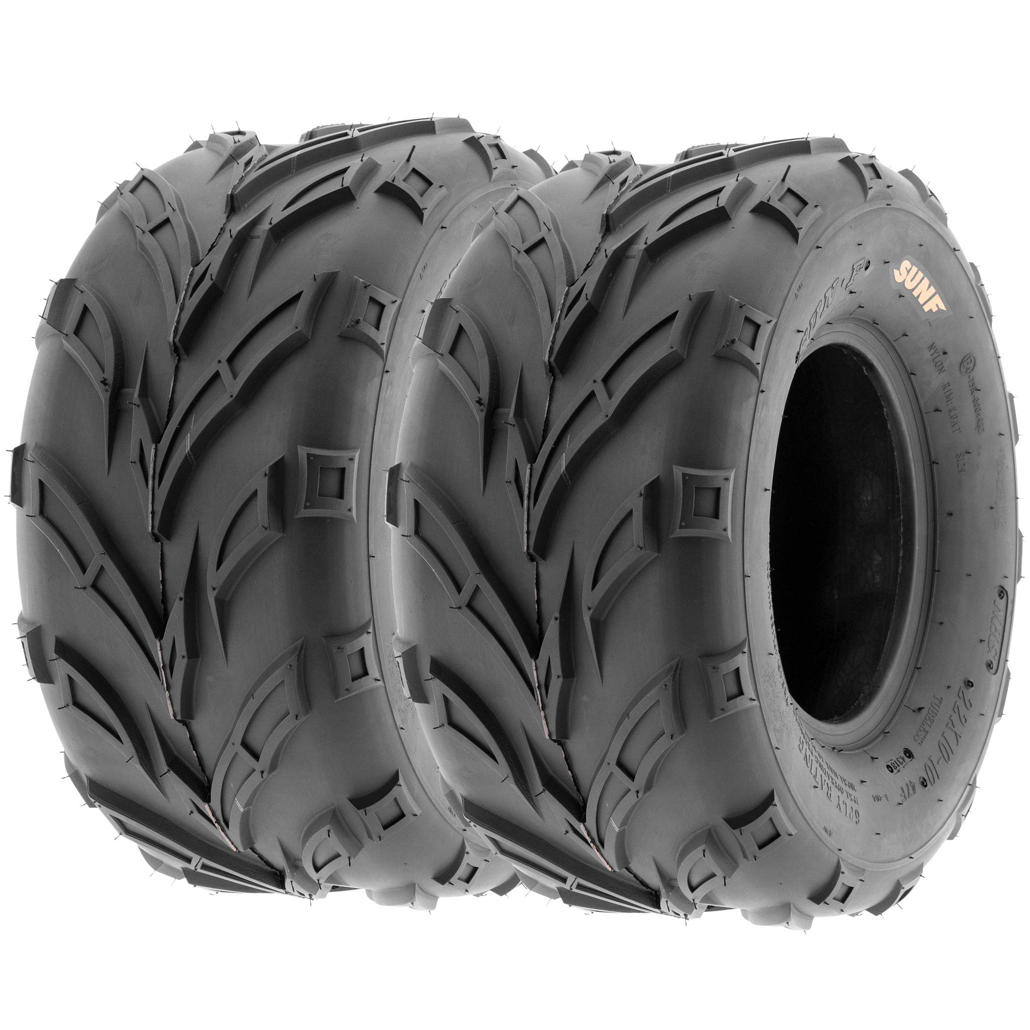 Pair of 2 SunF A004 ATV UTV 20x10-10 AT off-road Tires, Trail & Track, 6 PR, Tubeless by SUNF