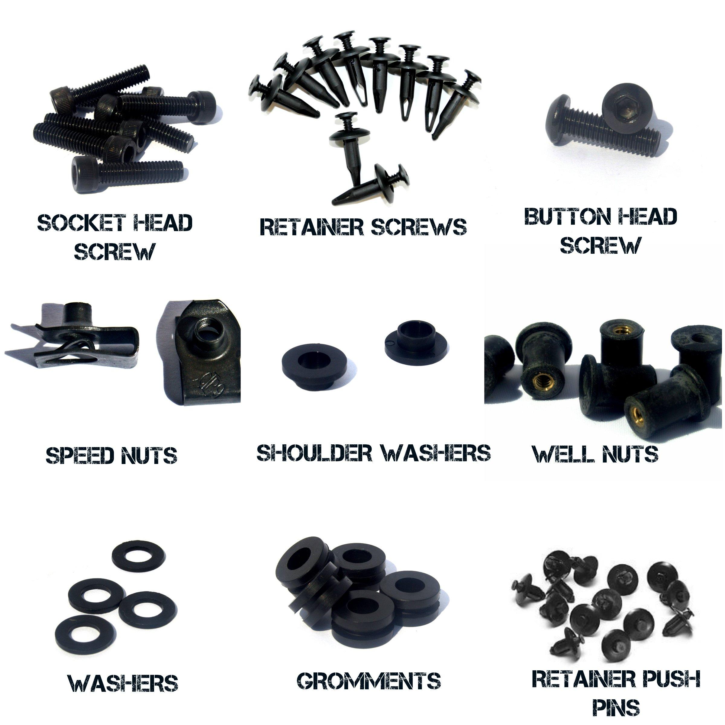 Black Complete Motorcycle Fairing Bolt Kit Honda CBR600RR 2003 - 2004 Body Screws, Fasteners, and Hardware by Bike Boltz (Image #4)