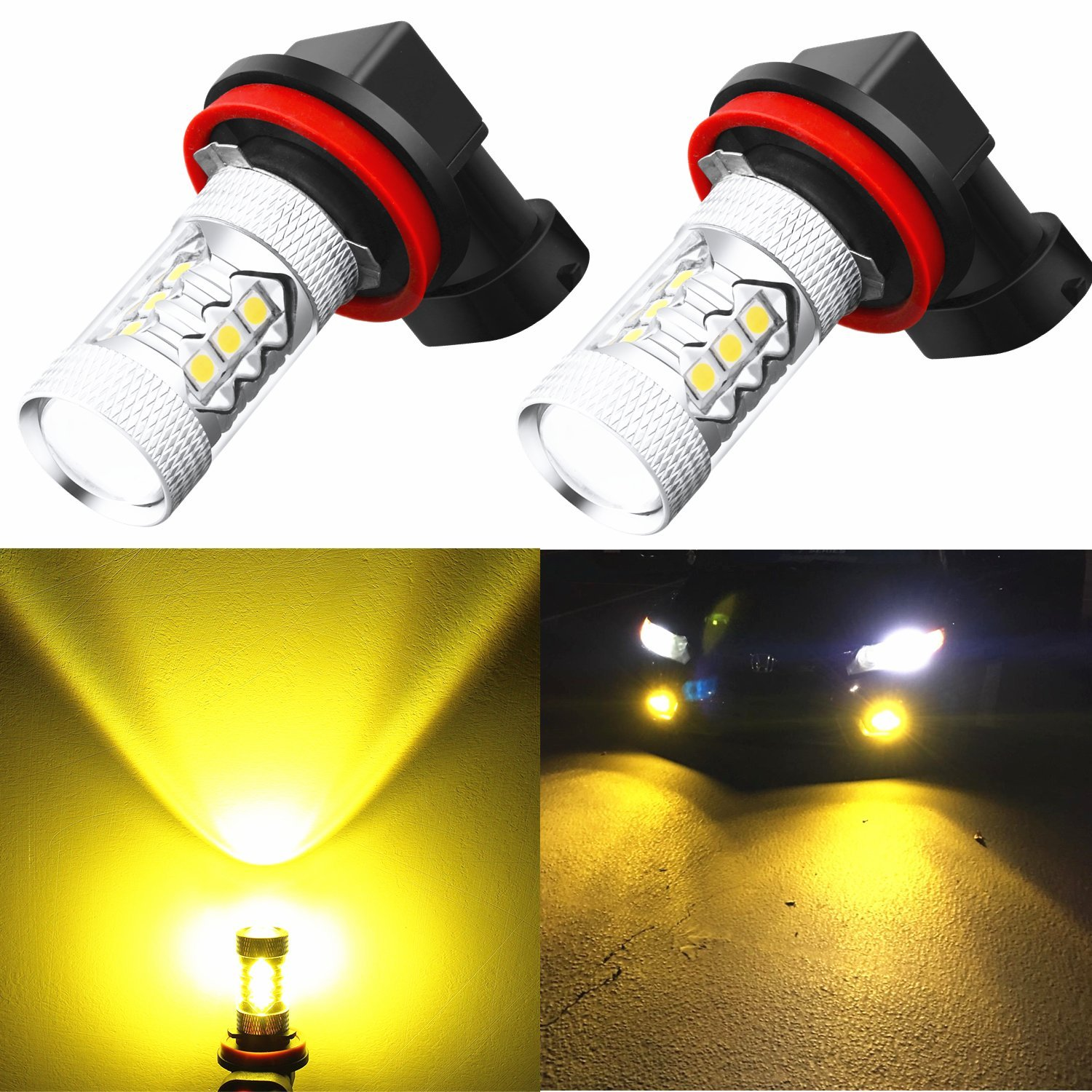 Alla Lighting Xtreme Super Bright H11 H8 H16 3000K Amber Yellow LED Fog Light Bulb 3030 SMD DRL