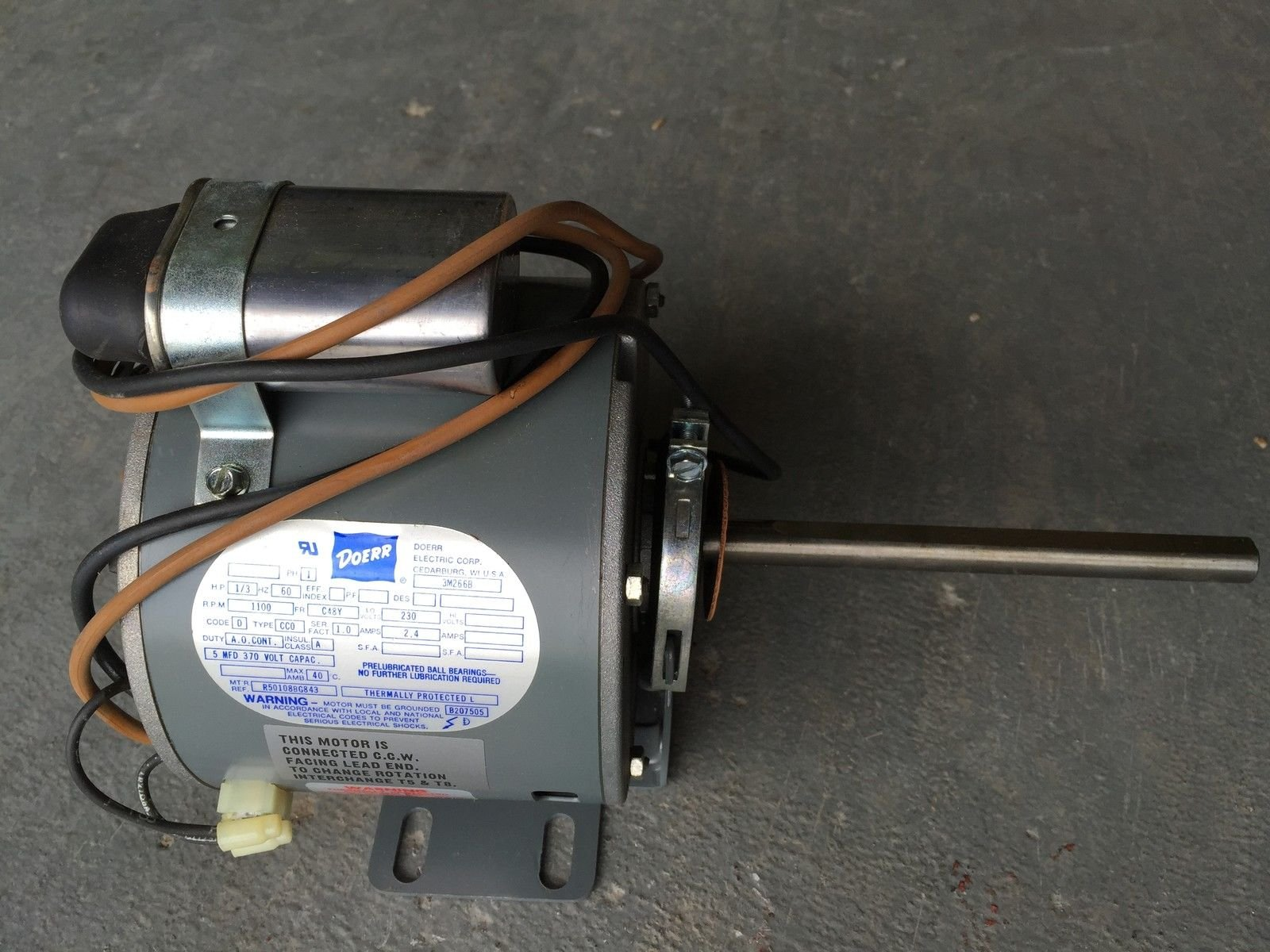 3M266, DOERR, 1/3 HP, PERM SPLIT CAP, 1100 RPM, 230V, 60 HZ, 1-PH, NEMA 48 FR