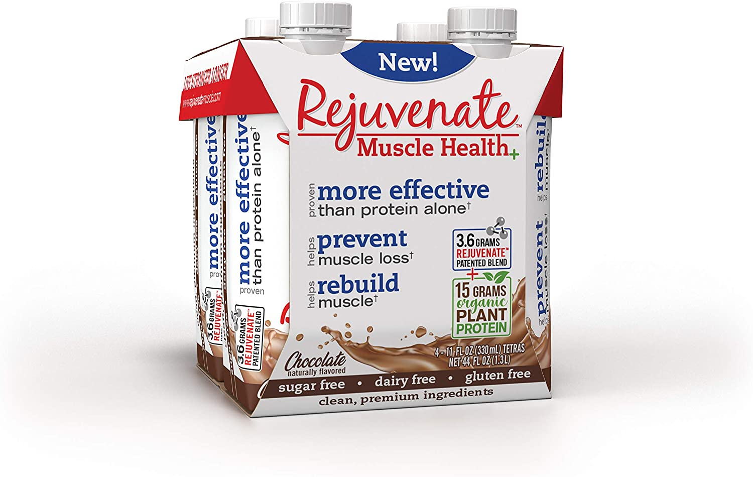 Rejuvenate - Ready to Drink - 15g Organic Plant Based - Proven Muscle Health Supplement – Chocolate, Pack of 12, 330ml Bottles