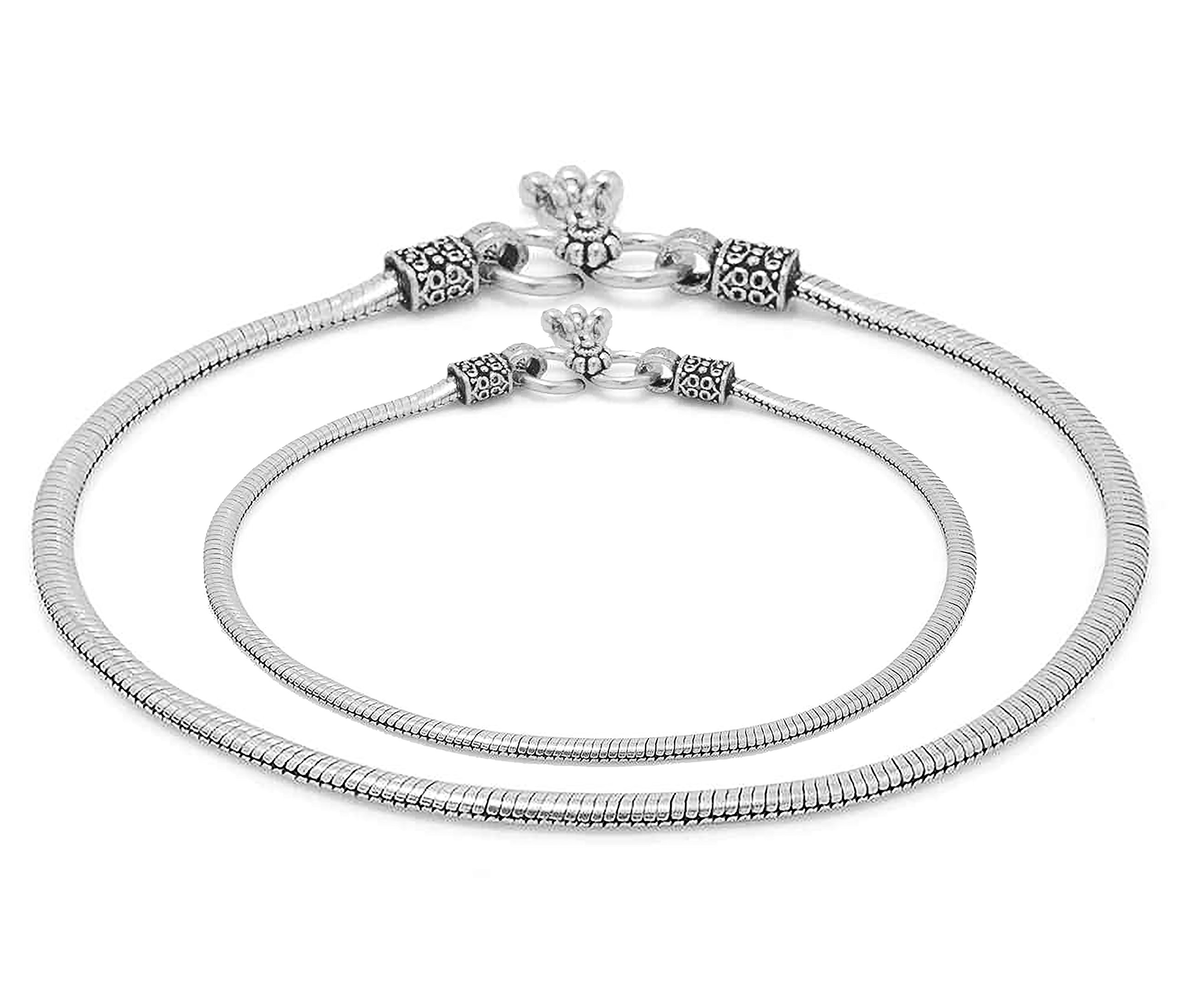 D&D Crafts Oxidized Silver Tone Sterling Silver Anklets Pair For Girls, Women by D&D (Image #1)