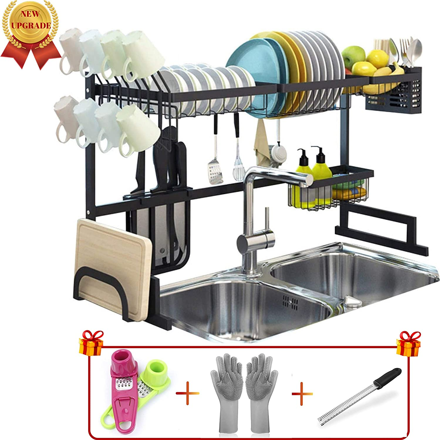 "Over The Sink(33"") Dish Drying Rack black Topkitch (New Upgrade) With Utensils Holder, stainless steel (Sink size≤33in) counter space + Garlic Grater + Magic Gloves + Multi hand Grater"