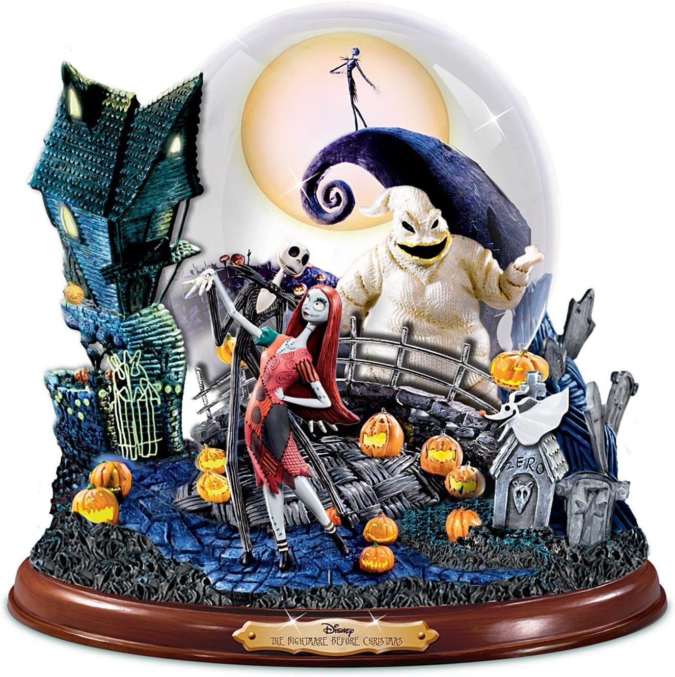 The Bradford Exchange Disney Tim Burton's The Nightmare Before Christmas Illuminated Musical Snowglobe