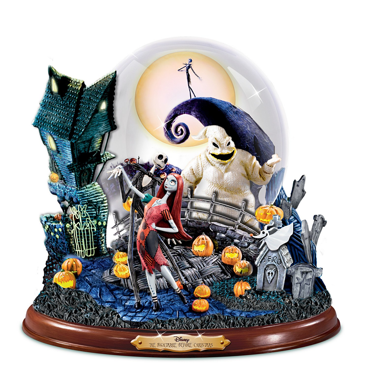 Disney Tim Burton's The Nightmare Before Christmas Illuminated Musical Snowglobe by The Bradford Exchange by Bradford Exchange (Image #6)