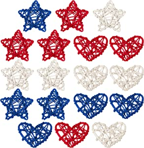 18 Piece 4th of July Star Shaped Rattan Heart Wicker Balls Decoration, Red Blue White Rattan Balls for Patriotic Independence Day Home Decor DIY Vase Filler Ornament Wedding Table Decor, 2.36 Inch