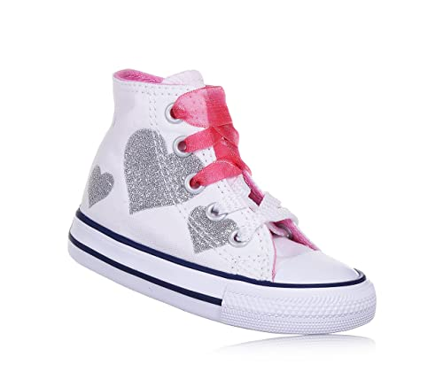 Converse C.T. All Star HI Sneakers Child Satin Lacets Heart Glitter Textile  White HOT Pink 760971C dce034ebbee