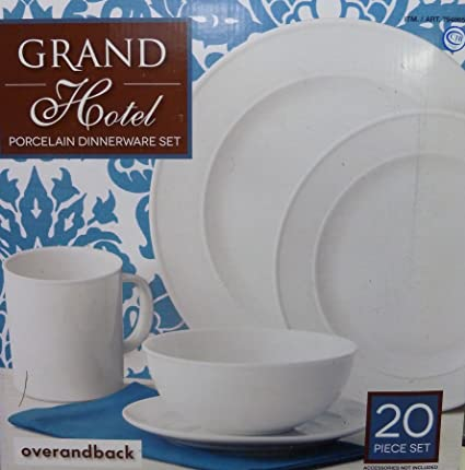 Over and Back Grand Hotel 20 Piece Dinnerware Set  sc 1 st  Amazon.com : over back dinnerware - pezcame.com