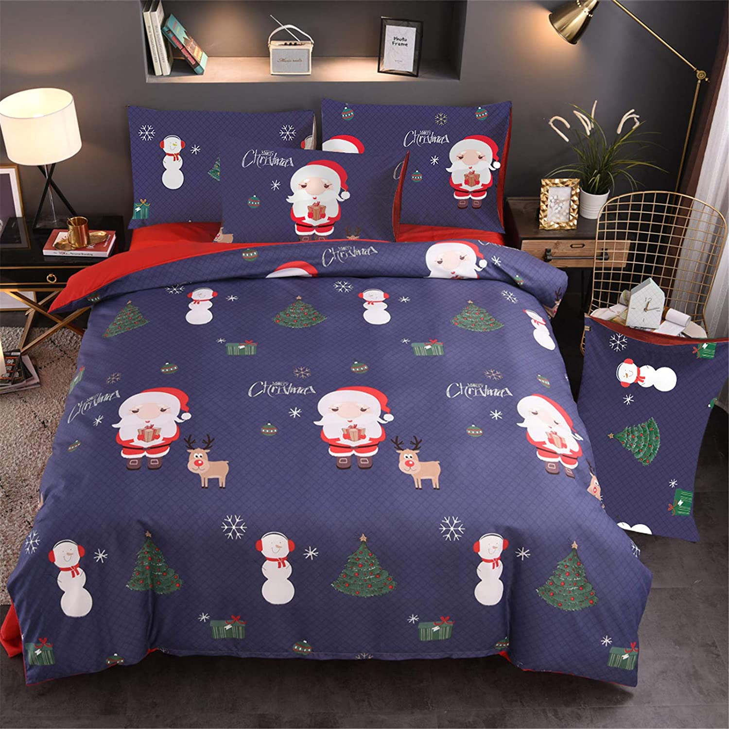 A Nice Night Christmas Tree Deer Santa Claus Printed Bedding Sets Quilt Cover Set No Comforter(Christmas-Style 01, Twin Size)