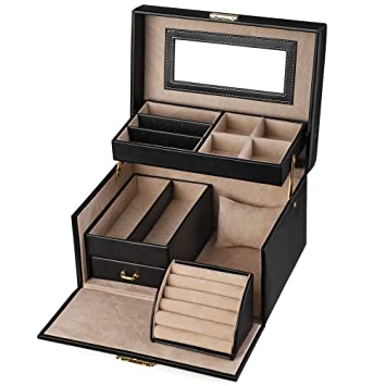 0a2a6bb025f0e SONGMICS Jewelry Box, Girls Jewelry Organizer and Storage, Lockable Black  UJBC114