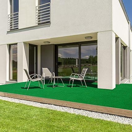casa pura/® Komfort Kunstrasen mit Noppen Balkon und Freizeit Beige, 200x500 cm wetterfest /& schnelltrocknend Meterware Rasenteppich f/ür Terrasse