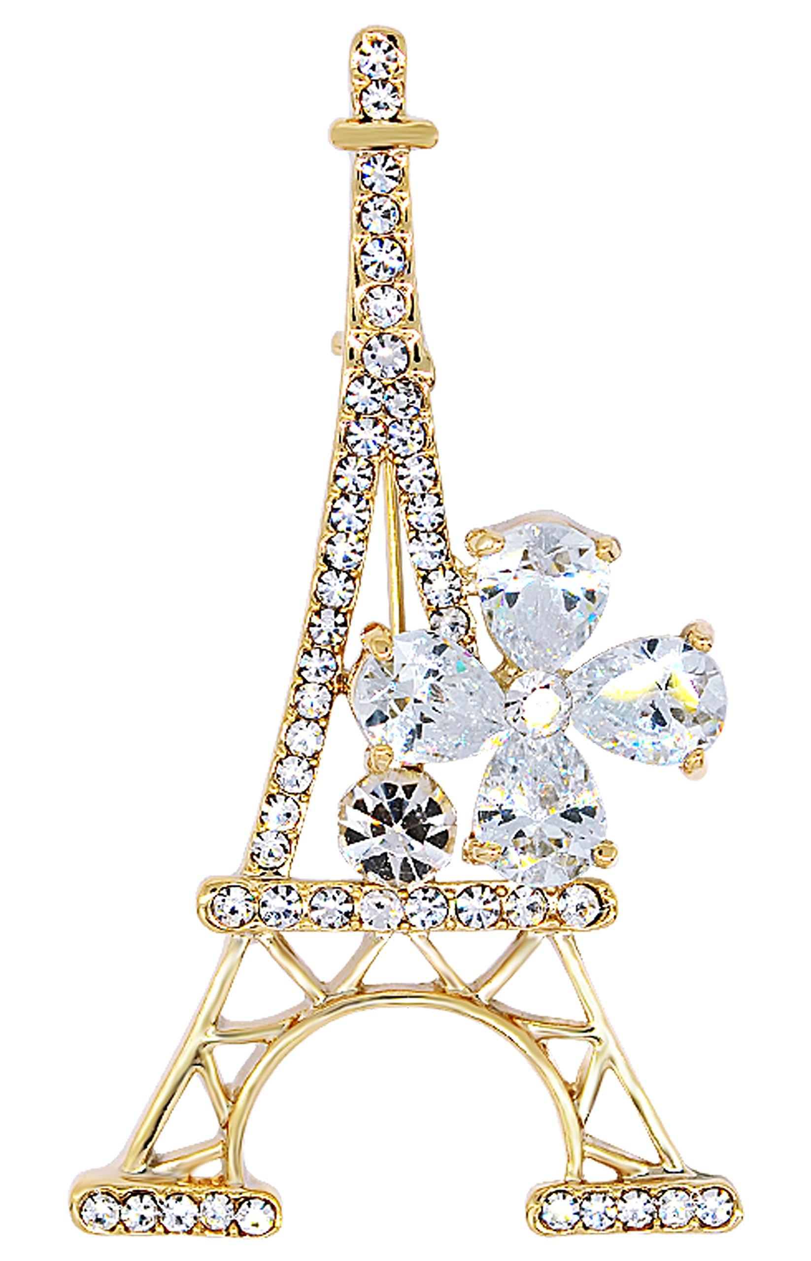 Gyn&Joy Jewelry Gold Plated Crystal Paris Eiffel Tower Fashionable Pin Brooch BZ014