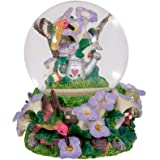 Hummingbirds Purple Flowers Garden Glass Musical Snow Globe Plays Tune A Few of My Favorite Things
