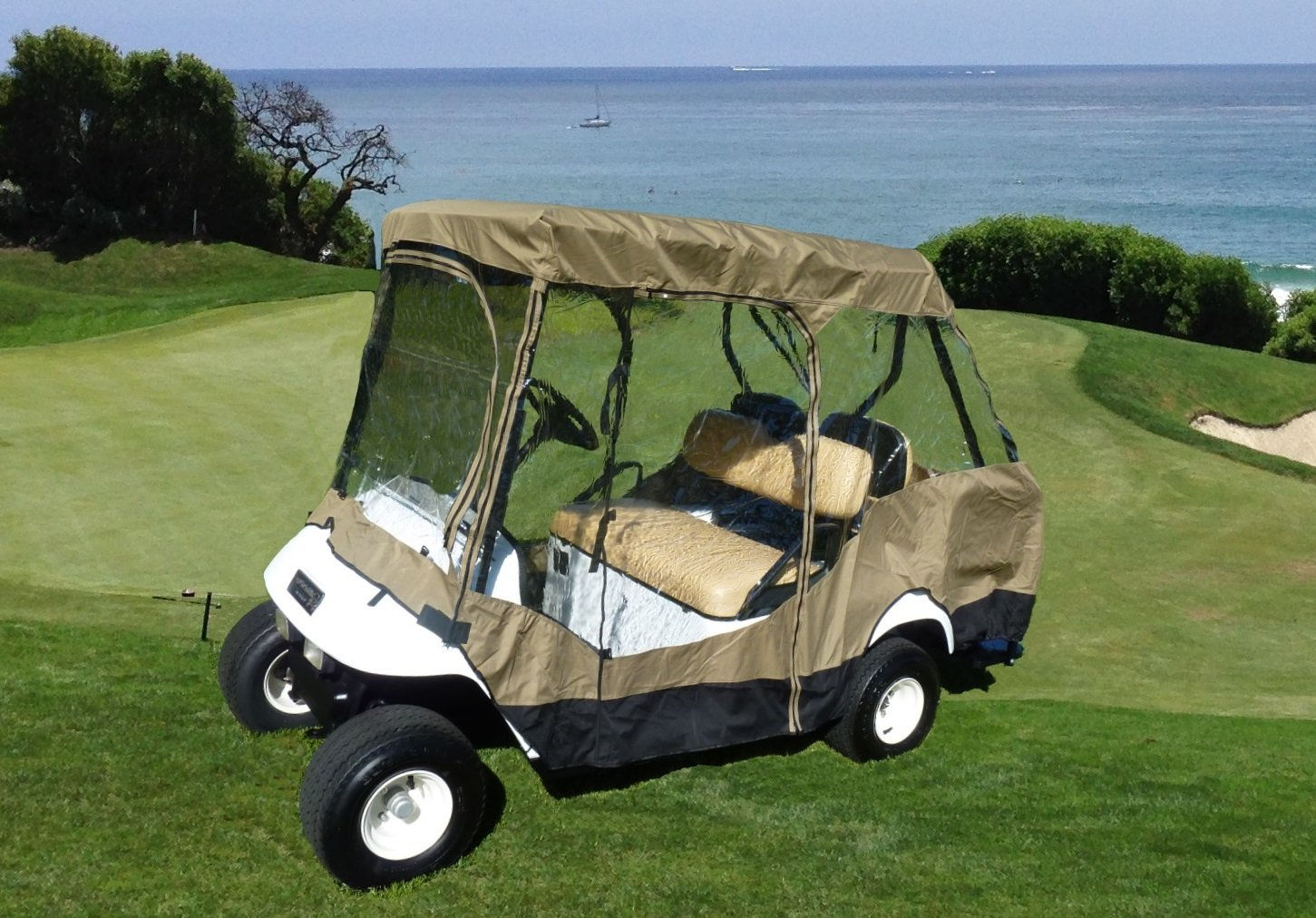 Premium Tight Weave Golf Cart Driving Enclosure for 4 seater with 2 seater roof up to 58'' by Formosa Covers (Image #2)