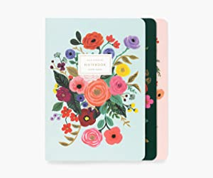 Rifle Paper Co. Garden Party Stitched Notebook Set, Set Of 3 Notebooks, 64 Ruled Pages With Gold Ink, Canvas Paper Cover With White Text Paper Interior