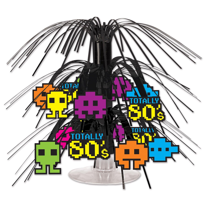 Multicolor 54607 7 1//2-Inch Beistle 80s Mini Cascade Centerpiece