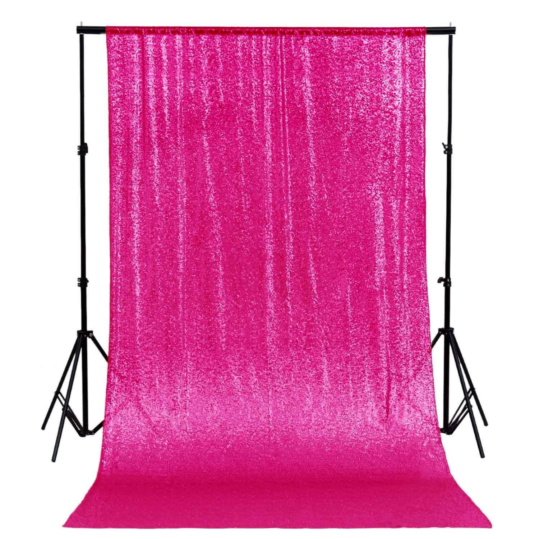 DUOBAO Sequin Backdrop Curtain 4FTx6FT Fuchsia Glitter Background Fuchsia Sequin Photo Backdrop Prom Party Decor~0613 by DUOBAO