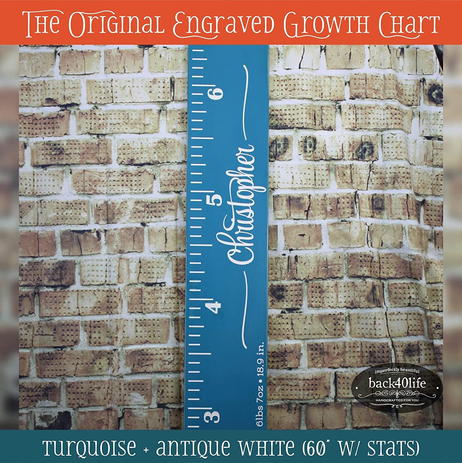 Engraved wooden ruler growth height chart (The Christopher) - premium engraved lettering