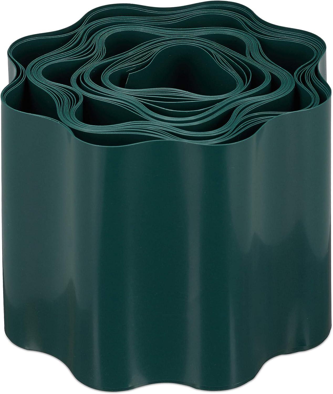 10 x 900 cm Bordura Plastica Bordatura per Prato o aiuole Grigio relaxdays Recinzione Flessibile