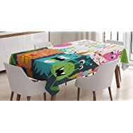 Ambesonne Birthday Decorations for Kids Tablecloth, Little Baby Monsters Party Cones Confetti Balloons Image, Dining Room Kitchen Rectangular Table Cover, 60 W X 90 L inches, Multicolor